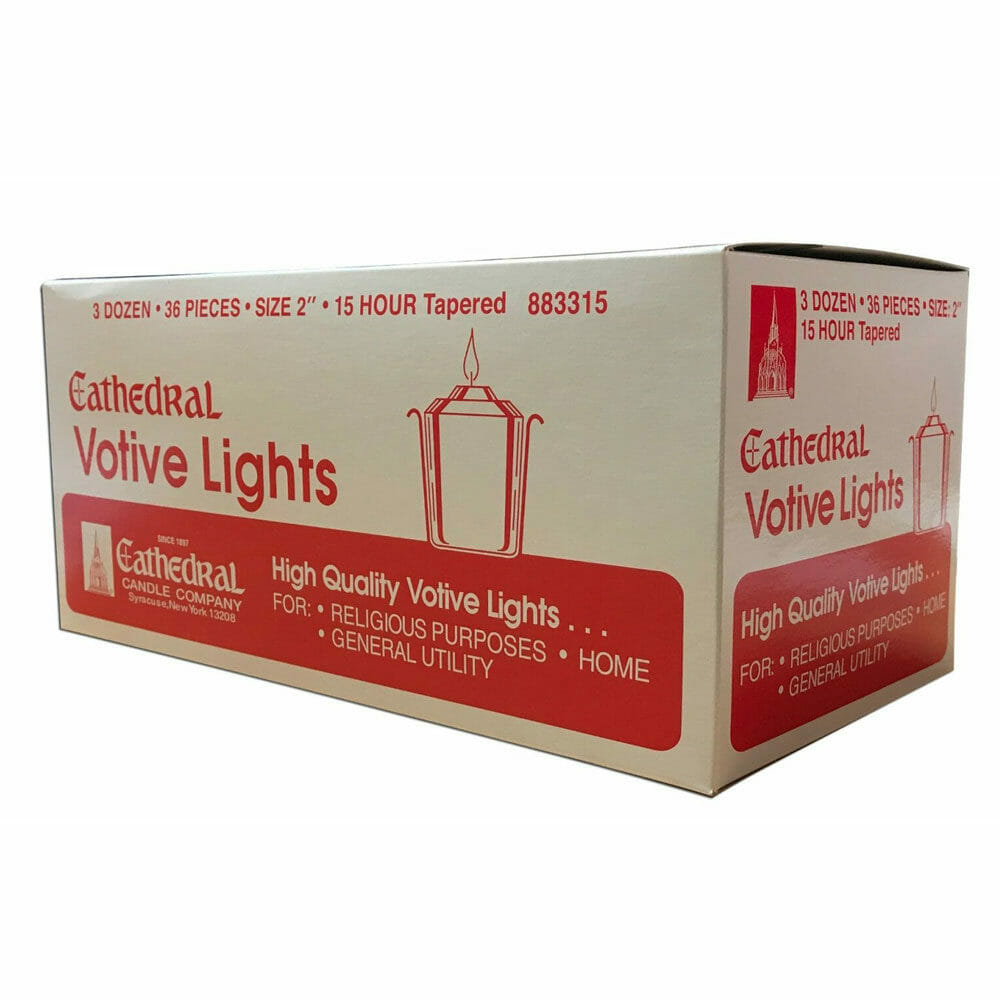 15hr Tapered Votive Candles Pk 36
